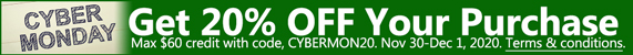 Cyber Monday - 20% OFF Your Purchase. Max $60 credit with code, CYBERMON20. Nov 30-Dec 1, 2020. Terms & conditions.