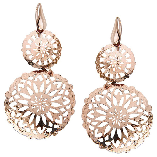 Due Sottocoppa Rose Gold Over Sterling Silver Dangling Earrings