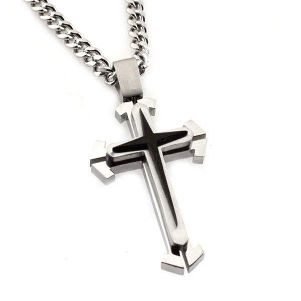 Mens Two-Tone Stacked Stainless Steel Cross Pendant  Curb Chain