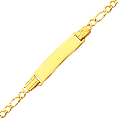2.5mm Figaro 14K Yellow Gold Baby ID  Bracelet