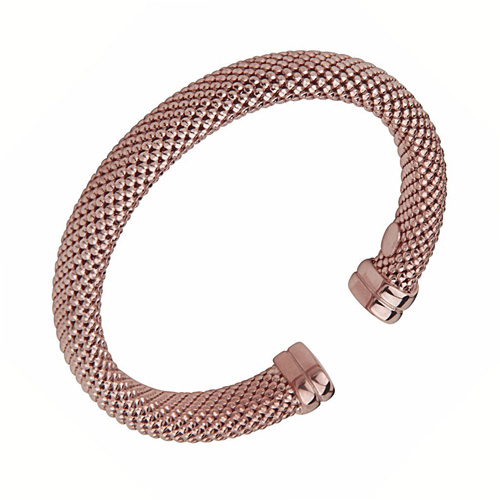 Thick Mesh Design Rose Gold Over Sterling Silver Cuff Bangle Bracelet