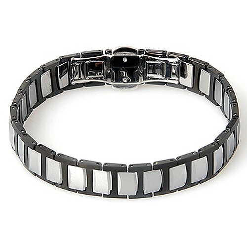 Folded Link Two-Tone Black Tungsten Bracelet
