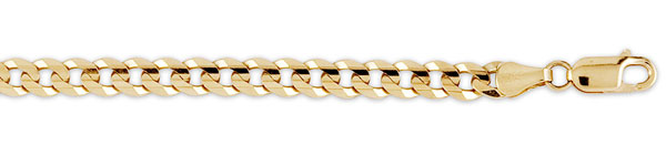 men's concave curb 14k yellow gold chain