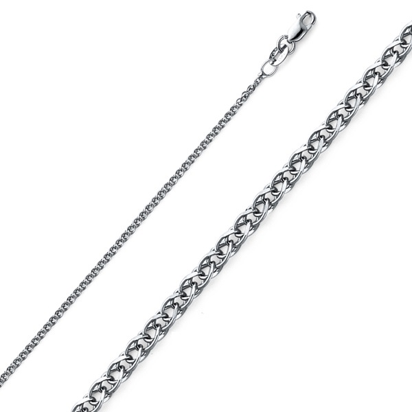 1.5mm 14K White Gold Flat Open Spiga Wheat Chain Necklace 16-22in