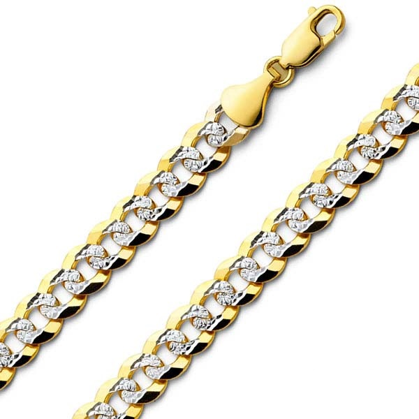 8mm 14K Two Tone Gold Men s White Pave Curb Cuban Link Chain Necklace  20-24in  ae73543c84