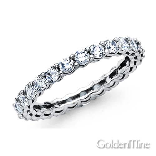 Click here for 2.7mm Round Cubic Zirconia Eternity Ring Wedding B... prices