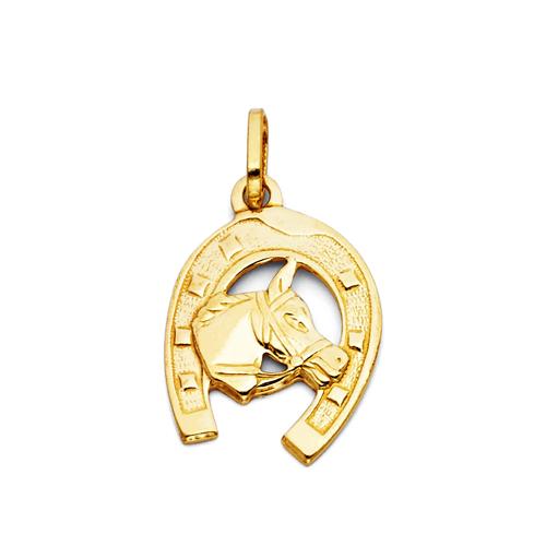 Horse with Horseshoe Charm Pendant - 14K Yellow Gold