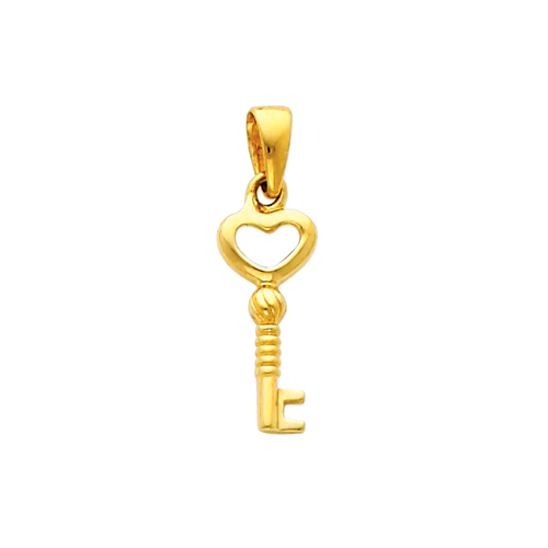 14K Yellow Gold Key to My Heart Pendant