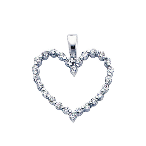 Click here for Classic 14K White Gold CZ Open Heart Pendant prices