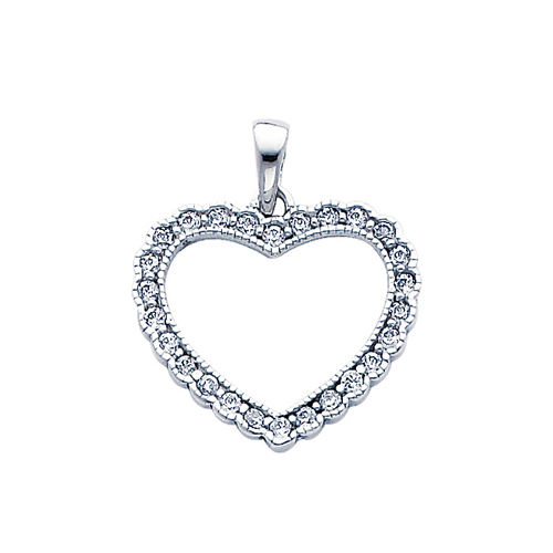 14K White Gold CZ Open Heart Pendant