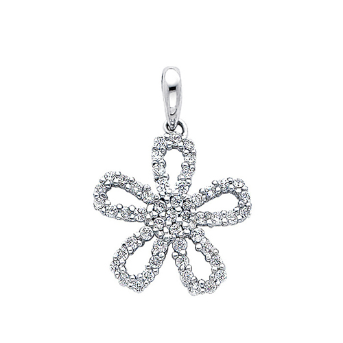 Click here for 14K White Gold Flower CZ Pendant prices