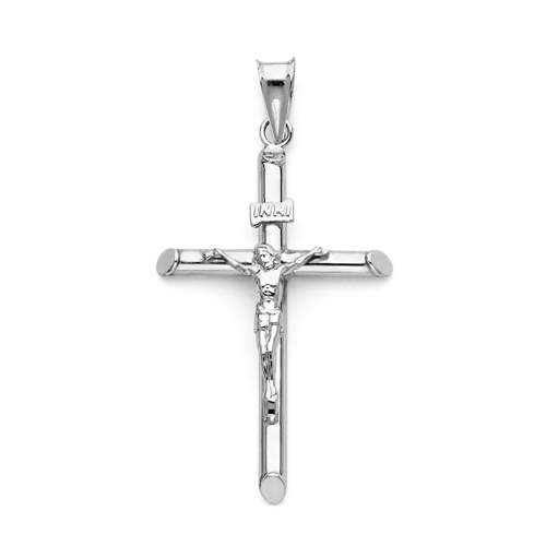 Click here for Medium Rod Crucifix Pendant in 14K White Gold - Cl... prices