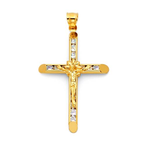 Large floral channel set cz crucifix pendant in 14k yellow gold large floral channel set cz crucifix pendant in 14k yellow gold goldenmine audiocablefo