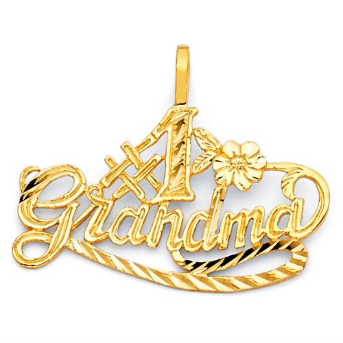 Mother's Day gift idea -  Whimsical #1 Grandma Pendant in 14K Yellow Gold