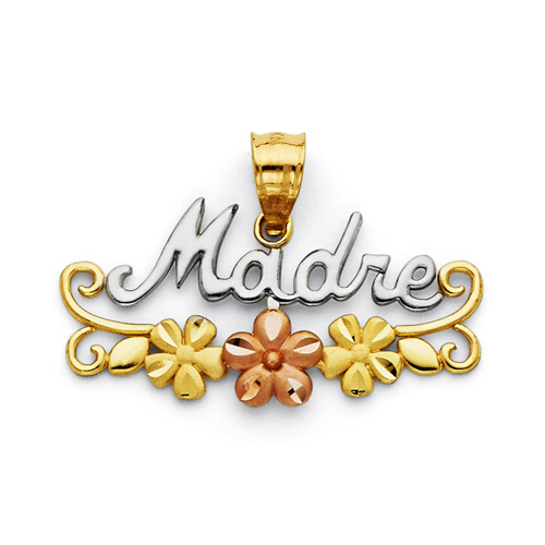 Mother's Day gift idea -  Madre Pendant with Flowers in 14K Tricolor Gold
