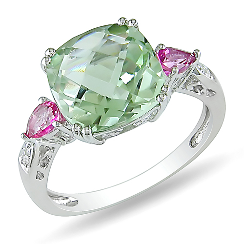 Sterling Silver 0.02 CTW Diamond 4.33 CT TGW Green Amethyst Pink Topaz Fashion Ring