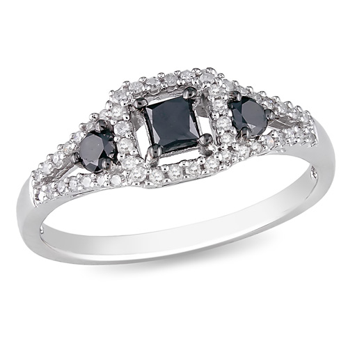 Sterling Silver 0.50 CTW Black White Diamond Fashion Ring