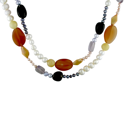 54in Pearl and Multi Gem stone Necklace