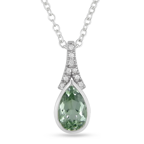 0.05 CTW Diamond 1.10 CT TGW Green Amethyst Fashion Pendant with Chain Sterling Silver