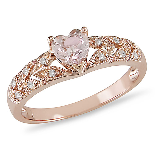 10K Rose Gold 0.50 CT TGW Morganite Diamond Floral Ring