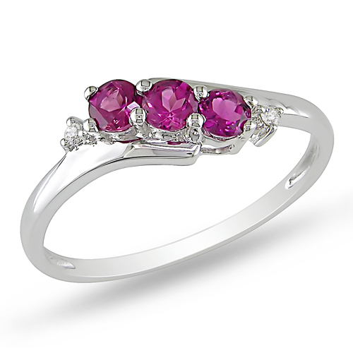 10K White Gold 0.018 CTW Diamond 0.33 CT TGW Pink Tourmaline 3 Stone Ring