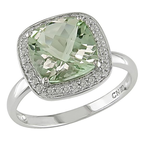 0.10 CTW Diamond 2 5/8 CT TGW Green Amethyst Fashion Ring 10K White Gold