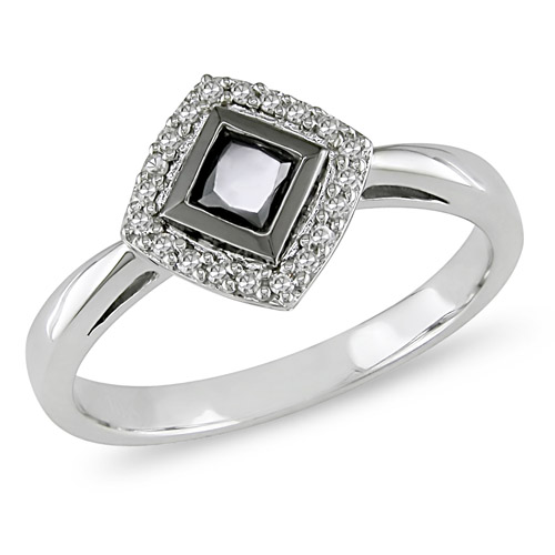 10K White Gold 0.50 CTW Black White Diamond Fashion Ring