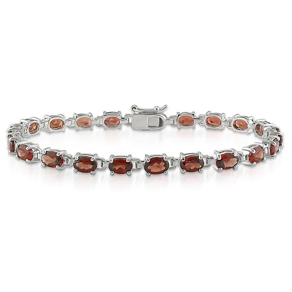 Sterling Silver 9.75 CT TGW Garnet Bracelet