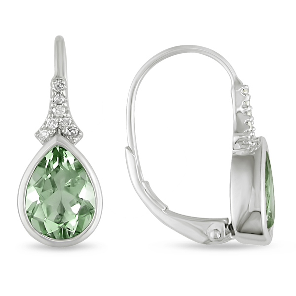 0.06 CT HIJ Diamond TW And 2 1/5 CT TGW Green Amethyst LeverBack Earrings Silver I3;I4