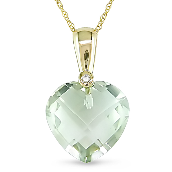 10k Yellow Gold Chain w/ 0.01 ctw Diamond 6.5 CT TGW Green Amethyst Heart Pendant