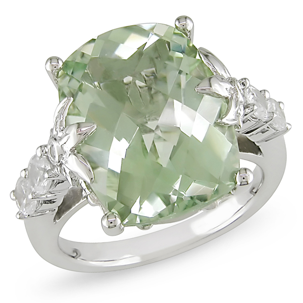 Sterling Silver 10 CT TGW Green Amethyst Synthetic White Sapphire Ring