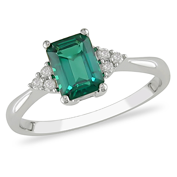 10K White Gold 0.88 CT TGW Synthetic Emerald Diamond Fashion Ring