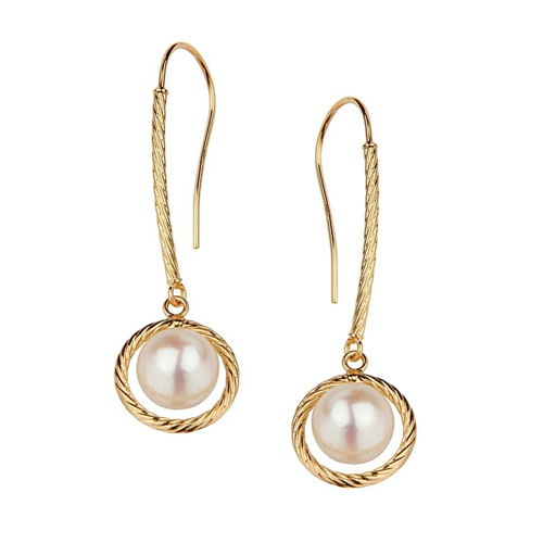 Twisted Rope Design with Pearl Dangle 14K Yellow Gold Earrings for Women