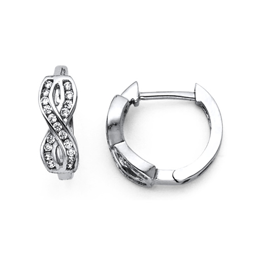 CZ Filled Infinity Huggie Hoop Earrings - 14K White Gold