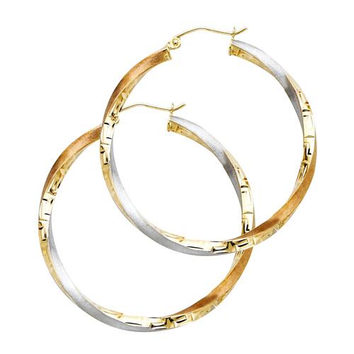 Medium14K Tricolor Gold Twisted Hoop Earrings -