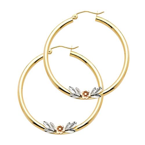 Medium Polished Flower Hoop Earrings - 14K
