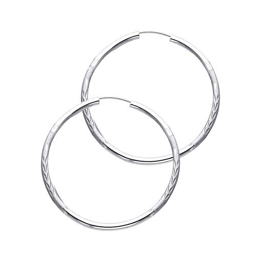 14k White Gold Diamond Cut Satin Endless Medium Hoop Earrings 2mm X 1 2 Inch
