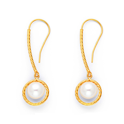 Mother's Day gift idea - Twisting Rope Knot Pearl Drop Earrings for Women in 14K Yellow Gold