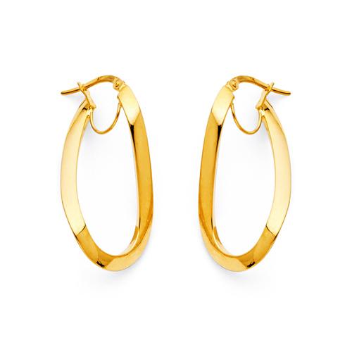 Oval Twist Medium Hoop Earrings - 14K