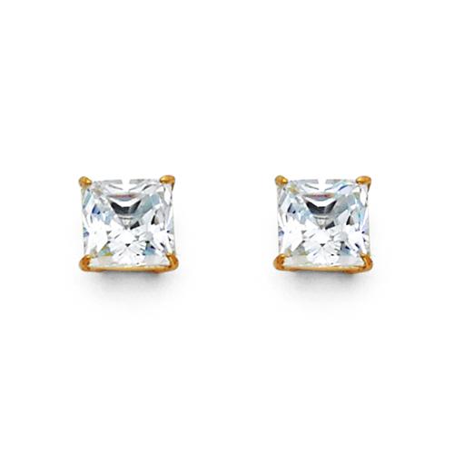 8608e8fe1 14K Yellow Gold 1.50CTW Princess Cut Cubic Zirconia Stud Earrings ...