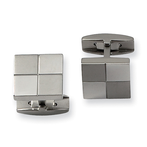 Checker Patterned Titanium Cuff Links