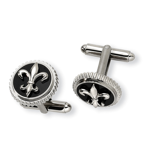 Fleur-de-Lis Polished Titanium Cuff Links
