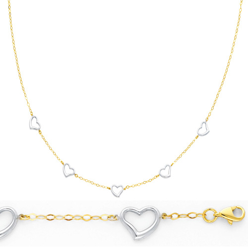Mother's Day gift idea -  White Gold Whimsical Heart Link Necklace Bracelet Set in 14K Two-Tone Gold