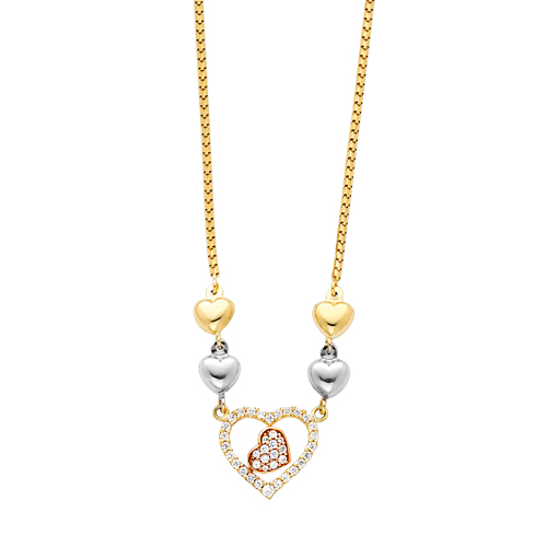 14K 3 Tri-Color Gold CZ Cubic Zirconia Heart Hanging 1.5mm Round Box Chain Necklace