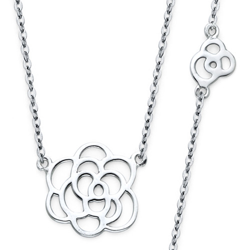 Romantic Floating Rose Charm Necklace in 14K