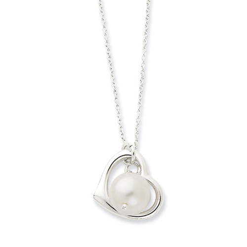 Heart Sterling Silver  Created Pearl Necklace