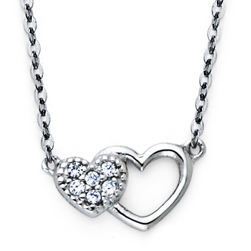 Mother Child Double Heart CZ Pendant in 14K White Gold