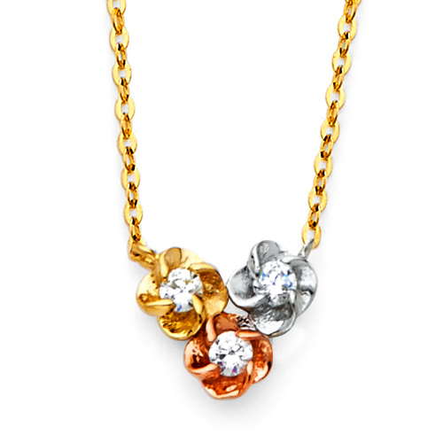 Three Roses CZ Floating Pendant Necklace in