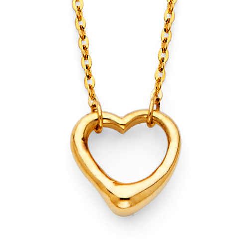 Classic Open Heart Floating Charm Necklace in