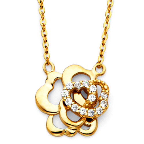 CZ Rose Floating Charm Necklace in 14K